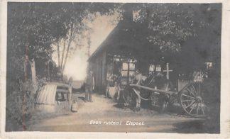 Ansichtkaart Elspeet Even Rusten Paard en wagen Type fotokaart 1934 HC4025