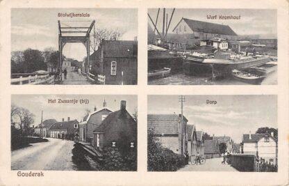 Ansichtkaart Gouderak Haastrechtse brug Stolwijkersluis Gouda Werf Kromhout Het Zwaantje Dorp 1927 HC4127