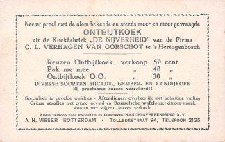 Ansichtkaart Fantasie 's-Hertogenbosch Reclame Koekfabriek De Nijverheid Verhagen van Oorschot Alleenverkoop Rotterdam A.H. Visser Illustrator Gerstenhauer HC4186