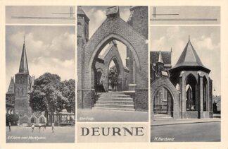 Ansichtkaart Deurne (NB) R.K. Kerk met Marktplein Kerktrap en H. Hartbeeld HC4235