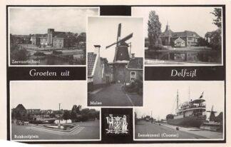 Ansichtkaart Delfzijl Groeten uit 1950 Zeevaartschool Molen Raadhuis Buiskoolplein en Coaster Eemskanaal HC4262