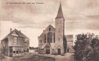 Ansichtkaart 's-Gravenzande Gereformeerde Kerk met Pastorie 1945 HC4269