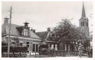 Ansichtkaart Oosterend (FR) Gereformeerde Kerk met Pastorie 1946 HC4293