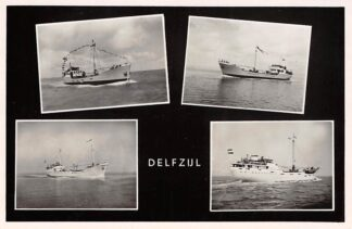 Ansichtkaart Delfzijl Nieuwe coasters maken proeftocht op de Eems 1950 Schepen Scheepvaart HC4304