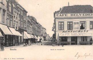 Ansichtkaart Gouda Markt en Hoogstraat Café Belvedère in 1901 HC4335
