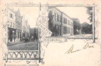 Ansichtkaart Doesburg Groeten uit 1900 Meipoortstraat Koepoortsdijk HC4338