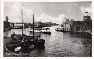 Ansichtkaart Wormerveer de Zaan Binnenvaart schepen Stoomboot naar Zaandam Scheepvaart HC4476