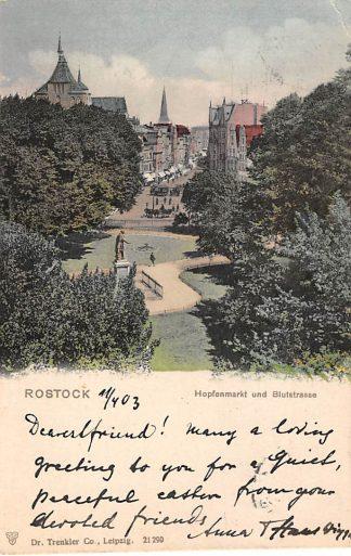Ansichtkaart Rostock Hopfenmarkt und Blustrasse 1903 Duitsland Deutschland HC4552