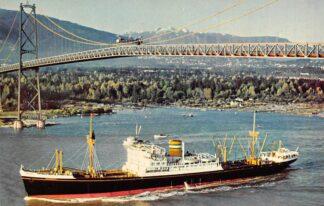 Ansichtkaart Rotterdam m.v. Dongedyk Under The Lion's Gate Bridge Vancouver Noord-Amerika Schepen Scheepvaart HC4569