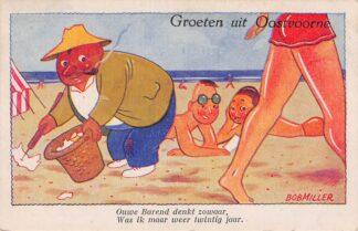 Ansichtkaart Oostvoorne Groeten uit Illustrator Bob Miller HC4600