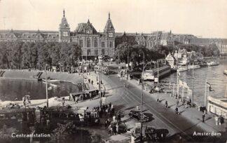 Ansichtkaart Amsterdam Centraal Station Auto Tram Schepen 1958 HC4611