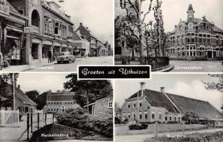 Ansichtkaart Uithuizen Groet uit 1967 Hoofdstraat Gemeentehuis Menkemaborg Boerderij HC4635