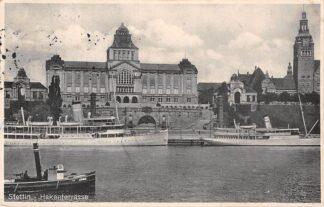 Ansichtkaart Stettin Hakenterrasse Duitsland Deutschland Szczecin Polen Polska Scheepvaart HC4686