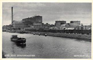 Ansichtkaart Hengelo (OV) Kon. Ned. Zoutindustrie Binnenvaart schepen Scheepvaart 1956 HC4695