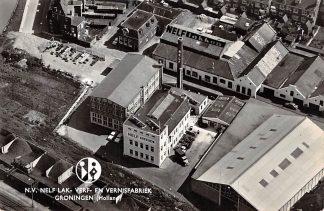 Ansichtkaart Groningen N.V. NELF Lak- Verf- en Vernisfabriek 1962 Reclame KLM Luchtfoto HC4759
