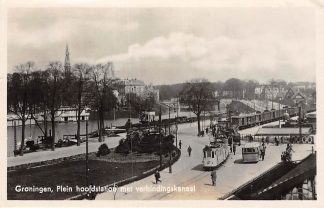Ansichtkaart Groningen Plein hoofd station met verbindingskanaal Tram Trein Spoorwegen HC4764