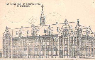 Ansichtkaart Groningen Het nieuwe Post- en Telegraafkantoor 1907 Postkantoor HC4765