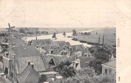 Ansichtkaart Grouw Panorama Molen Zeilschepen Binnenvaart schepen 1908 HC4862
