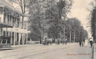 Ansichtkaart Groningen Heereweg 1917 Boschhuis Links tram wagon HC4866