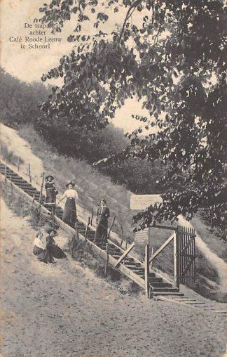 Ansichtkaart Schoorl De trap achter Café Roode Leeuw 1913 HC4898