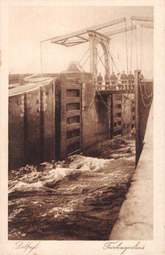 Ansichtkaart Delfzijl Tivelinosluis Scheepvaart Sluis 1920 HC4901