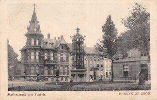Ansichtkaart Bergen op Zoom Stationstraat met Fontein HC4924