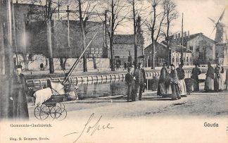 Ansichtkaart Gouda Gasfabriek Bolwerk Vest Turfsingel Molen De Korenblom Gompers HC4934