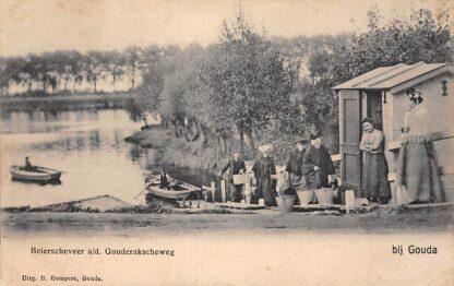 Ansichtkaart Stolwijkersluis bij Gouda Beierscheveer a/d/ Gouderakscheweg over de IJssel Veer pont Gompers HC4953