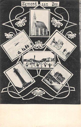 Ansichtkaart Egmond aan Zee 6-luik 1908 Vuurtoren HC4994