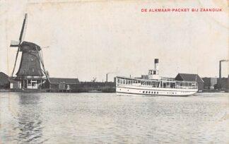 Ansichtkaart Alkmaar Stoombootdienst Alkmaar-Packet bij Zaandijk Molen Routekaart achterzijde Binnenvaart schepen Scheepvaart HC5013