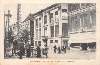 Ansichtkaart Leeuwarden Amelandspijp met R.C. Ziekenhuis en Stoomvleeschwaren- en worstfabriek HC5025