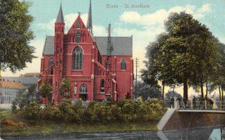 Ansichtkaart Breda St. Jozefkerk met sport vissers 1914 HC5034