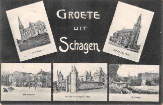 Ansichtkaart Schagen Groete uit 1907 HC5046