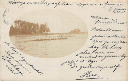 Ansichtkaart Amsterdam Fotokaart 1902 Roeiwedstrijd om de Telegraafbeker De Hoop tegen De Amstel HC5079
