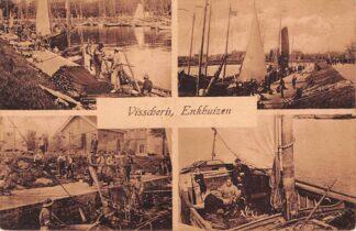 Ansichtkaart Enkhuizen 1925 Visscherij Vierluik Vissers schepen HC5084