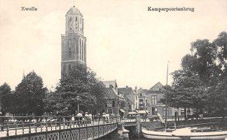 Ansichtkaart Zwolle Kamperpoortenbrug met binnenvaart schepen 1918 HC5118