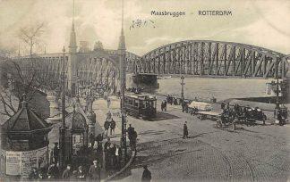 Ansichtkaart Rotterdam Maasbruggen RTM Tram en volk 1914 HC5133