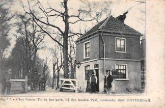 Ansichtkaart Rotterdam Tol in het park, bij den houten Paal, omstreeks 1886 Paard en wagen HC5178