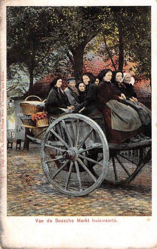 """Ansichtkaart """"s-Hertogenbosch Van de Bossche Markt huiswaarts 1908 Noord-Brabant Dorpsleven HC5256"""