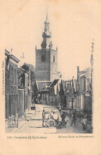 Ansichtkaart Rotterdam Overschie Dubbele Melkventer Nieuwe kerk en Dorpsstraat HC5264