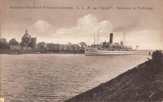 Ansichtkaart Enkhuizen Aankomst Stoomboot Veerdienst Enkhuizen - Stavoren S.S. R. van Hasselt Scheepvaart Schepen 1928 HC5351