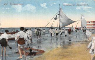 Ansichtkaart Zandvoort Groeten uit 1922 Strand vermaak Schepen HC5464