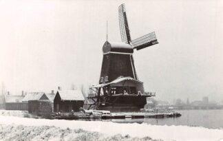 Ansichtkaart Zaandam Zaanse Schans Zaagmolen De Poelenburg in de sneeuw Molen. HC5495