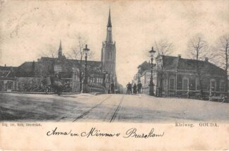 Ansichtkaart Gouda Kleiweg Tram spoor R.K. Kerk en Kleiwegbrug 1902 Kleinrondstempel Egmond HC5519