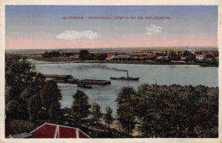 Ansichtkaart Nijmegen Panorama Lent v. af de Belvedère Binnenvaart schepen Scheepvaart HC5545