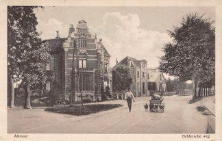 Ansichtkaart Alkmaar Heldersche weg met vierspan hondenkar 1917 HC5565