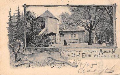 Ansichtkaart Bad Ems Restauration zur schonen Aussicht 1905 Duitsland Deutschland Litho HC5607