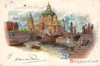 Ansichtkaart Berlin Litho Der neue Dom u. die Kaiser Wilhelm Brucke 1904 Deutschland Duitsland HC5627