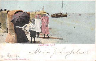 Ansichtkaart Zandvoort Strand en Zee met vissers schepen 1904 HC5695
