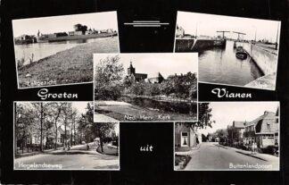 Ansichtkaart Vianen Groeten uit 1959 Sluis Lek Hogelandseweg en Buitenlandpoort HC5711